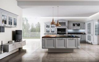 διαχρονική κουζινα με νησίδα βαμμένη σε υπέροχα χρώματα