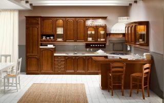 τραπεζαρία κουζίνας σε χρώμα καρυδιάς