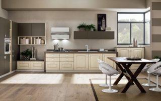 ξύλινη τραπεζαρία σε διαχρονικό στυλ κουζίνας