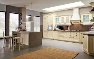 μπεζ διαχρονική κουζινα σε μοντερνο σπίτι