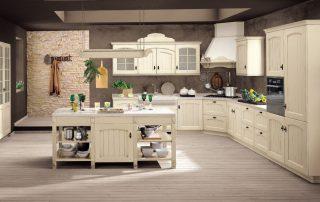 κλασική κουζινα με πάγκο ξύλινο και νησίδα