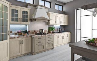 ξύλινη κουζίνα μπεζ για την εξοχή