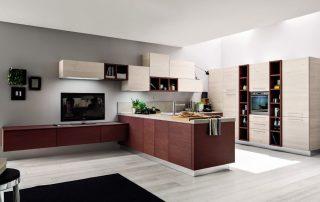 μοντέρνα κουζίνα Ιταλικού στυλ σε σχήμα Π